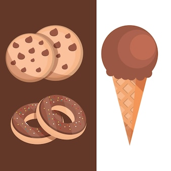 チョコレートとデザートの甘いキャンディー