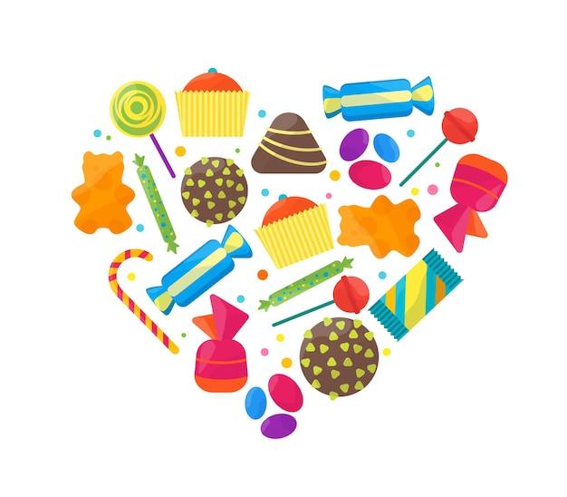 Набор иконок сладкие конфеты в форме сердца