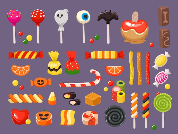 Sweet candies, scary bat lollipop and sweets liquorice butterscotch set