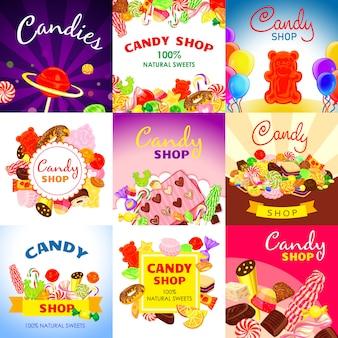 달콤한 사탕 배너 설정합니다. 달콤한 사탕 벡터 배너의 만화 그림 웹 디자인을위한 설정
