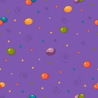 보라색 배경에 격리된 평평한 스타일의 파티를 위한 달콤한 사탕 콩 원활한 패턴