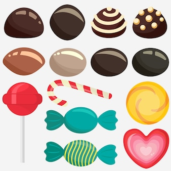 Sweet candy, caramel lollipop set, colored chocolate candies collection with wrapper, sugar sweet-stuff   food, design element for christmas