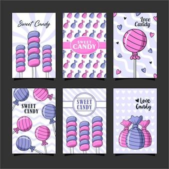 달콤한 사탕 카드 디자인 서식 파일 모음