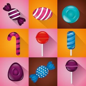 Набор сладких конфет Бесплатные векторы
