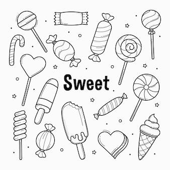 Сладкие конфеты каракулей наброски рисованной