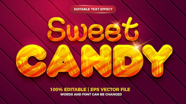 Sweet candy editable text effect 3d liquid template style
