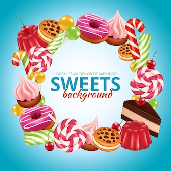 Sweet candy frame. lollipop round and twisted shop colored dulce  background realistic pictures