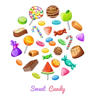 Sweet candy icon composition