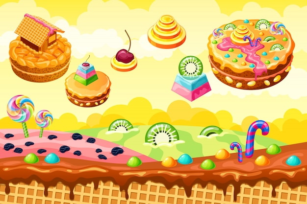 Sweet candy land. cartoon game illustration