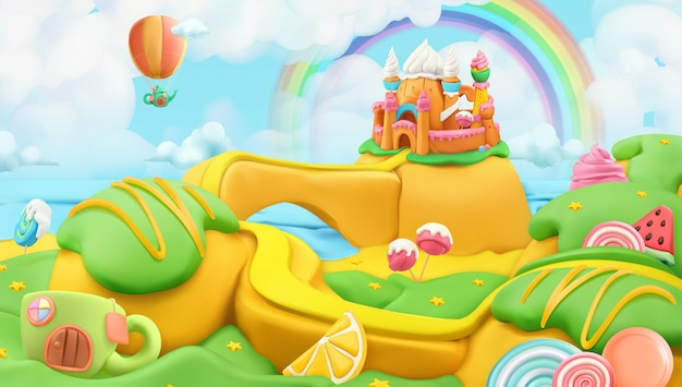 Sweet candy landscape, vector plasticine art illustration