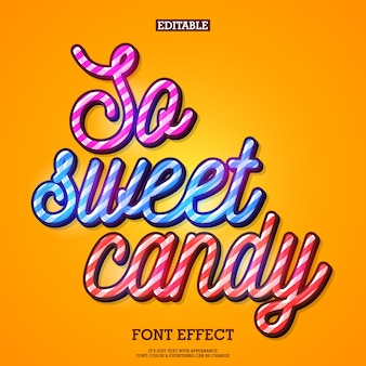 Sweet candy text effect with typography style