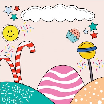 Sweet candy with cupcake background