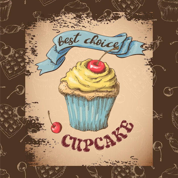 Sweet capcake with cream. set from vector cards