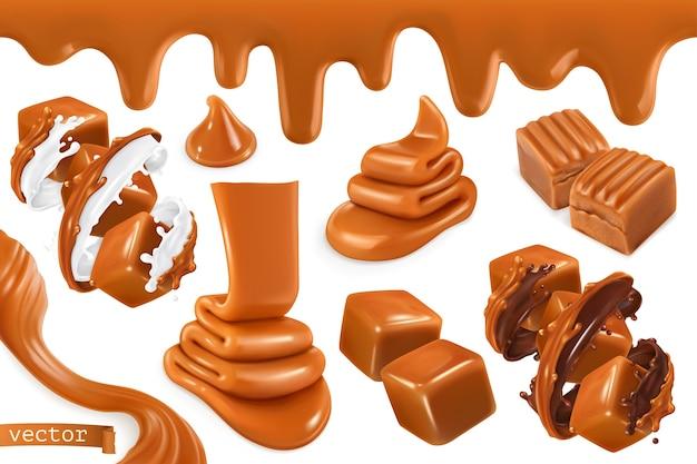 Sweet caramel illustration set