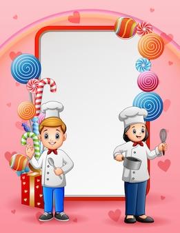 幸せな2人のシェフと甘いカードの背景