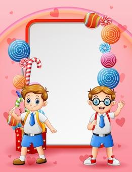 幸せな2人の学生と甘いカードの背景