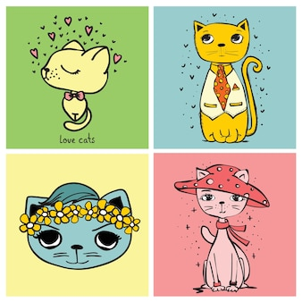 Sweet card illustrations with cute cats vector illustration