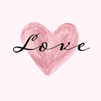 로즈 골드 손으로 달콤한 카드 템플릿 마음과 사랑 텍스트를 그린
