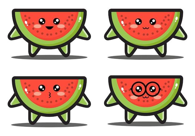 달콤한 만화 수박 조각 귀여운 디자인 프리미엄