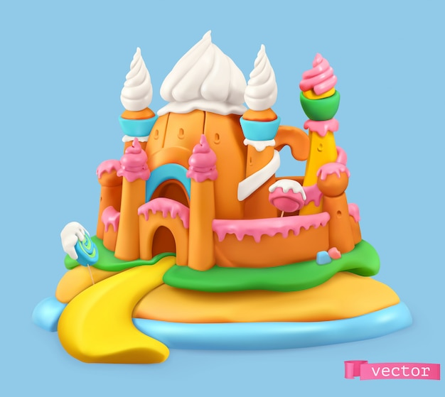 Sweet castle, cartoon vector object. plasticine art illustration