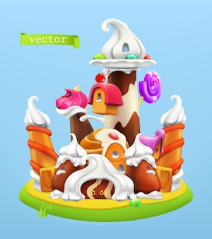 Sweet castle illustration background