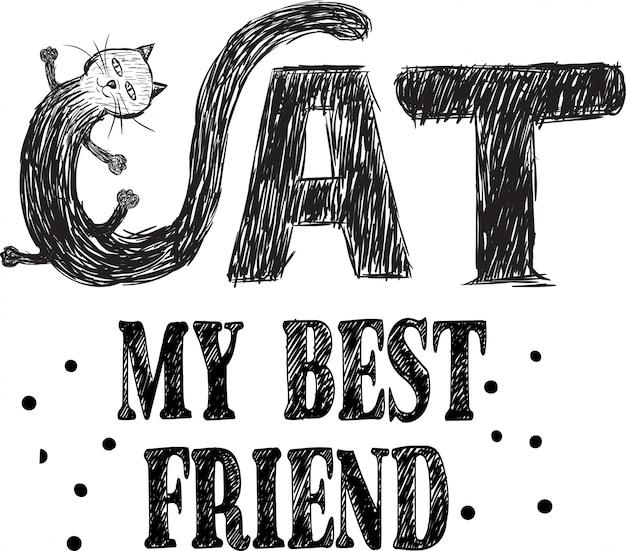 女の子のプリントデザインのための甘い猫のイラストベクトル
