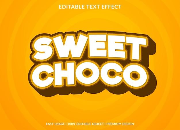 Сладкий шоколадный редактируемый текстовый эффект премиум стиль