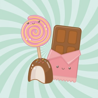 Sweet chocolate bar and candies kawaii characters