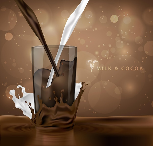 Sweet chocolate bar chocolate falling into milk with splashes