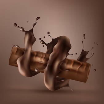Sweet chocolate bar with spiral melted chocolate
