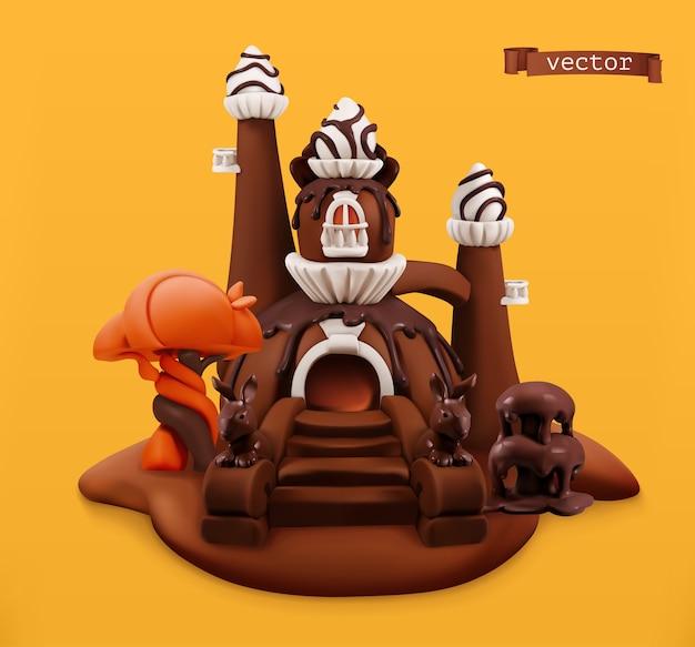 Sweet chocolate castle. 3d vector cartoon object. plasticine art illustration