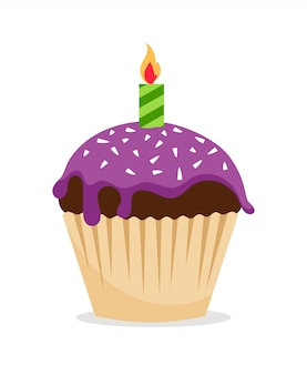 Sweet chocolate cupcake with violet frosting and one candle icon.