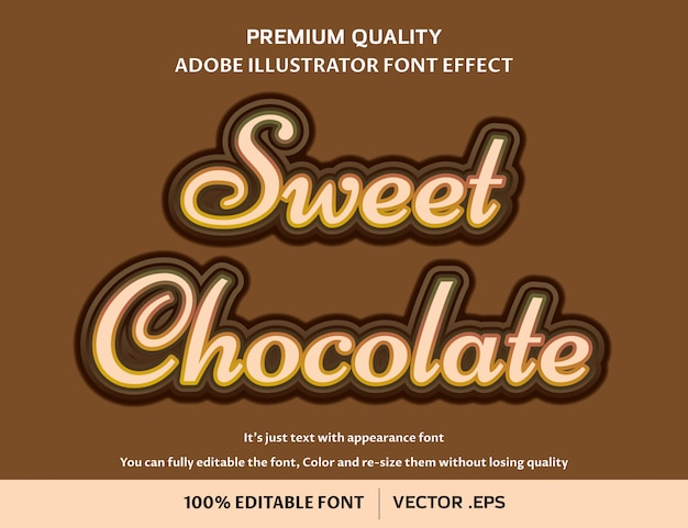 Sweet chocolate easy editable font effect
