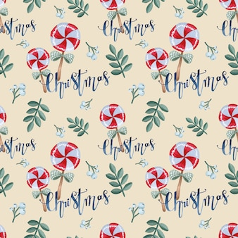 甘いクリスマスのシームレスなパターンの水彩画の包装紙