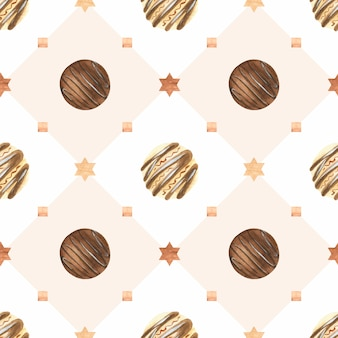 Sweet christmas watercolor pattern with chocolate candies