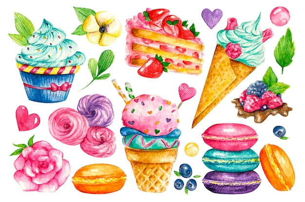 Sweet collection. confectionery watercolor food. illustrations of cakes, pies, biscuits, ice cream, cookies, sweets