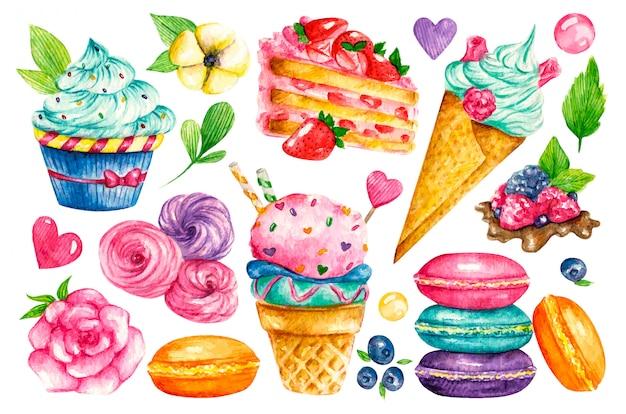 甘いコレクション。菓子水彩食品。ケーキ、パイ、ビスケット、アイスクリーム、クッキー、お菓子のイラスト