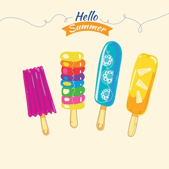 Sweet colorful popsicles
