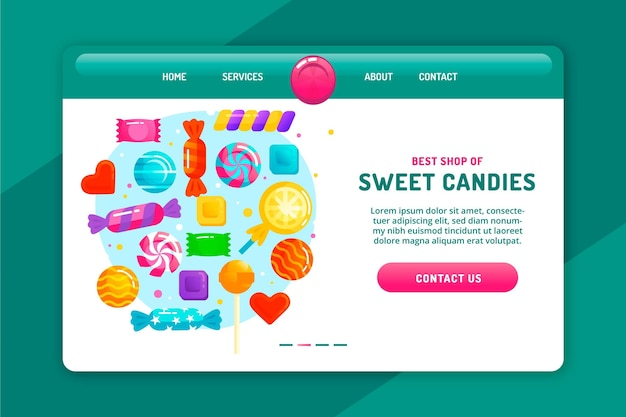 Sweet colourful candies landing page