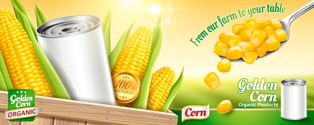 Sweet corn banner with blank tin can and kernels on bokeh green field