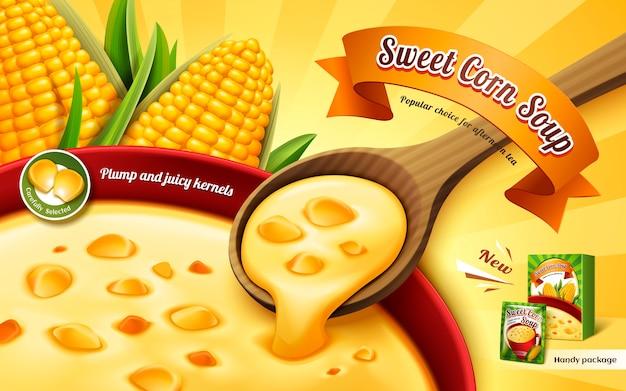 Реклама сладкого кукурузного супа с крупным планом и элементами кукурузного ядра