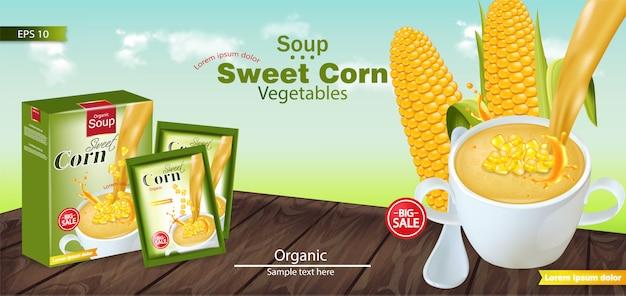 Sweet corn soup mockup