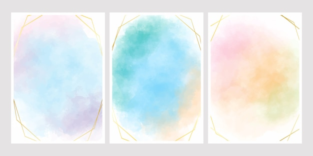 Sweet cotton candy watercolor background with golden frame for wedding invitation card 5x7