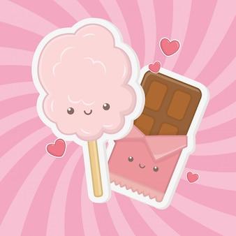 Caratteri kawaii di zucchero e caramelle di cotone dolce Vettore gratuito