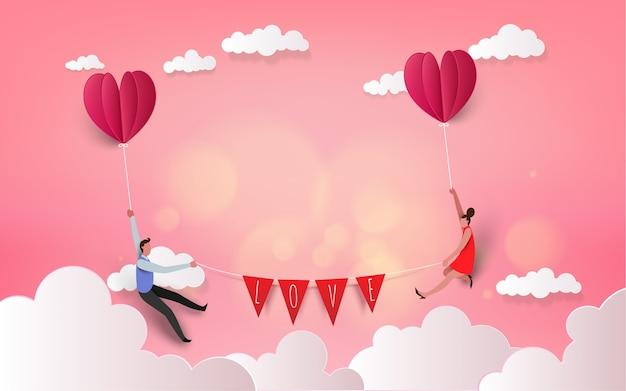 熱気球で甘いカップル