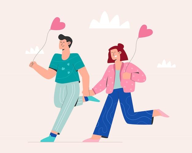 バレンタインデーに走っている甘いカップル