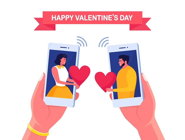 Sweet couple send love letter to each other by phone happy valentines day smartphone with sms, email