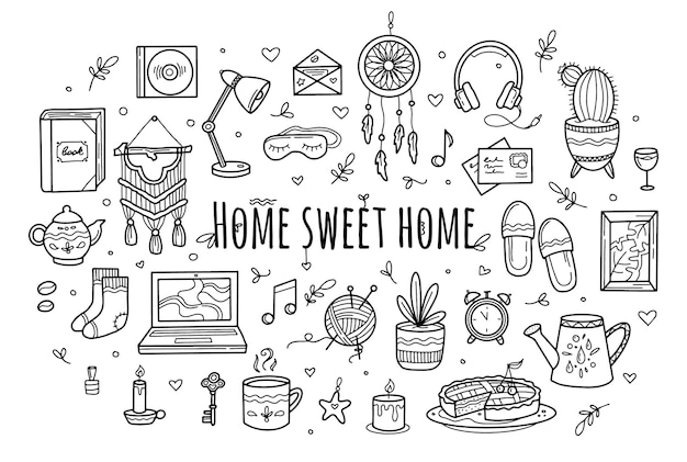 Sweet cozy home set in hand drawing doodle style