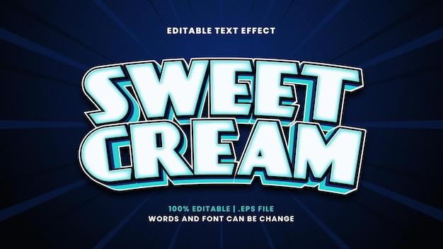 モダンな3dスタイルの甘いクリーム編集可能なテキスト効果