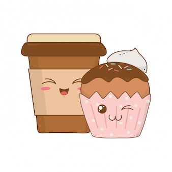 Sweet cupcake and coffee pastry kawaii characters